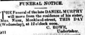Daniel Murphy Furneral Notice Gympie Times and Mary River Mining Gazette (Qld. 1868 - 1919), Wednesday 11 January 1882, p.2 article169153644-5-001[1]