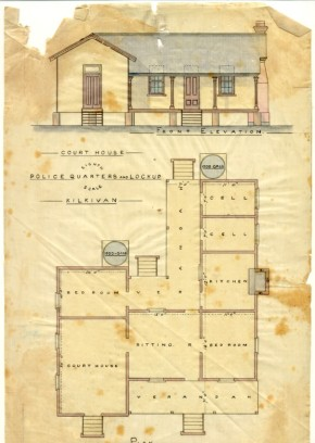 Plan of Kilkivan Police Quarters, Lockup and Court House, 1884. Image courtesy of the Queensland Police Museum.