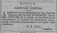 Nashville Times, Wednesday, February 26, 1868 p. 2 Nashville Hospital
