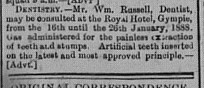 Thursday, January 12, 1888 p.3 Notes & News Dentist advert