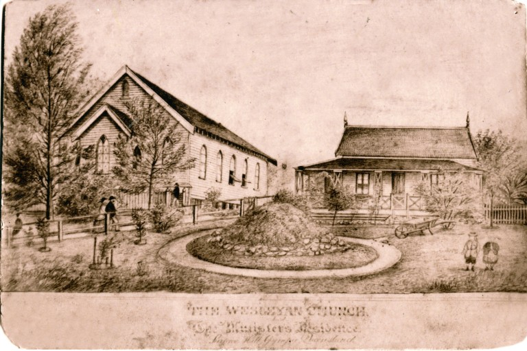 Surface Hill Church and Manse drawing by JW Laing