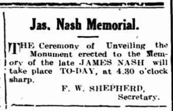 James Nash Memorial. GT 6 Mar 1915