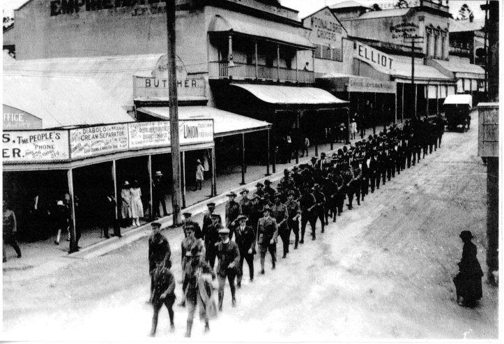 Anzac Day possible the first one held in Gympie c1920 Captain George Thomas in the centre of the first row of 3 men