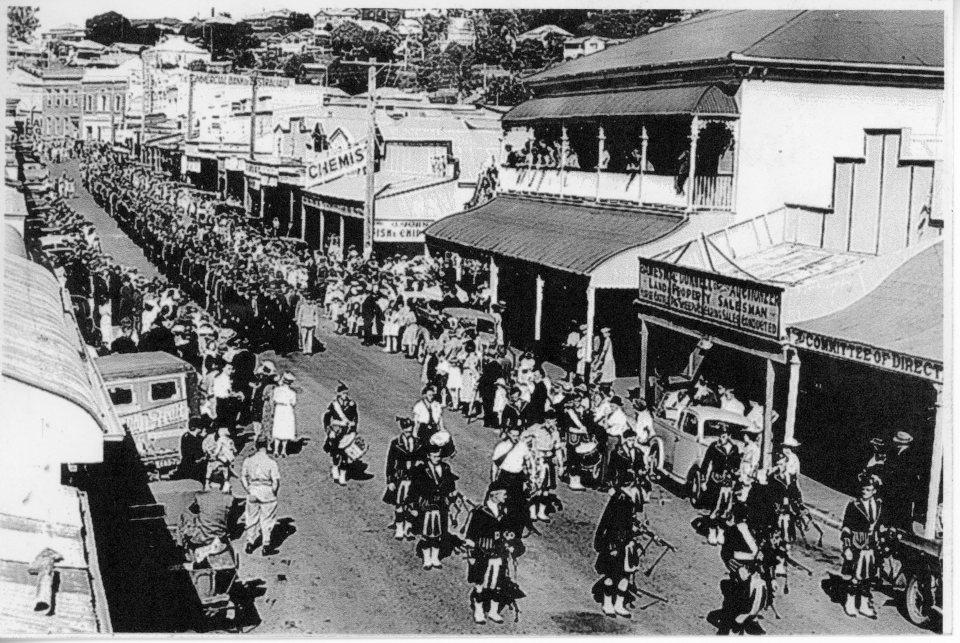 Anzac Day Parade - probably 1943 Capt George Thomas lead parade