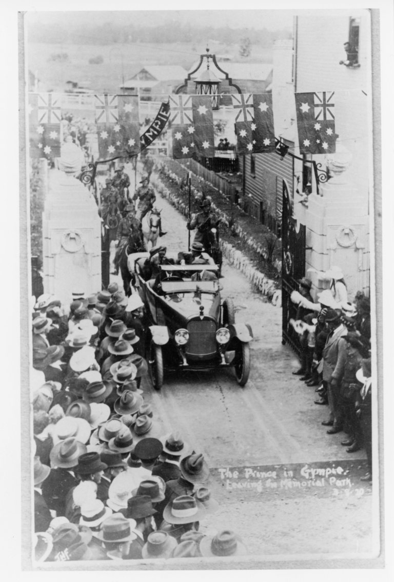 Prince of Wales leaving the Memorial Park 3.8.1920