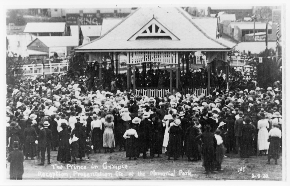 Prince of Wales reception in Memorial Park 1920