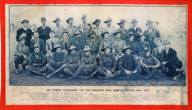 Gympie Volunteers for the European War, Monday August 24th 1914 (Mrs Gilliland's Scrapebook)