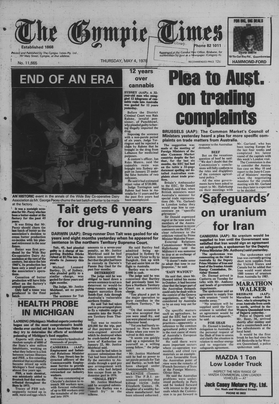 The Gympie Times Thursday 4 May 1978 page 1