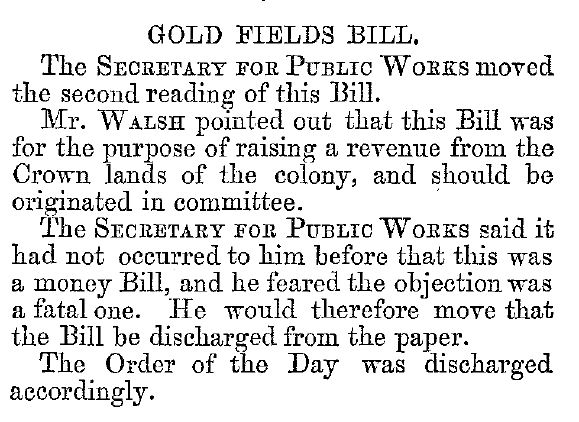 Gold fields bill June 1869