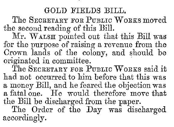 Gold fields bill June 1869