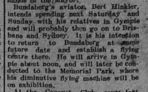 The Gympie Times, Thursday, April 14, 1921 p.3 Bert Hinkler visit
