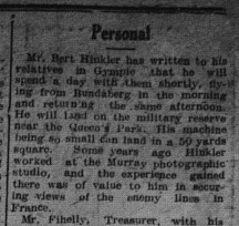 The Gympie Times Thursday, April 14, 1921 p.3 Bert Hinkler visit