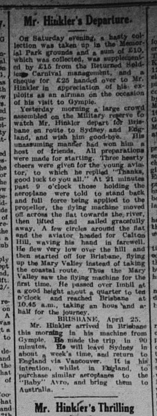 The Gympie Times Tuesday, April 26, 1921, p.3 Bert Hinklers' departure from Gympie
