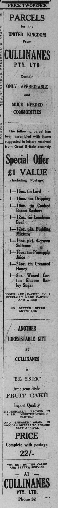 Gympie Times  Tuesday March 15, 1948 p.1 Cullinanes