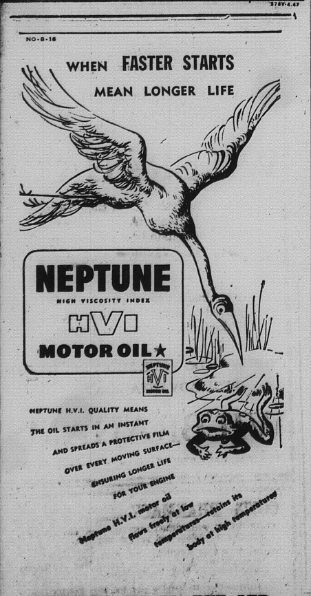 Gympie Times Tuesday March 15, 1948 p.5 Neptune Motor Oil Advert