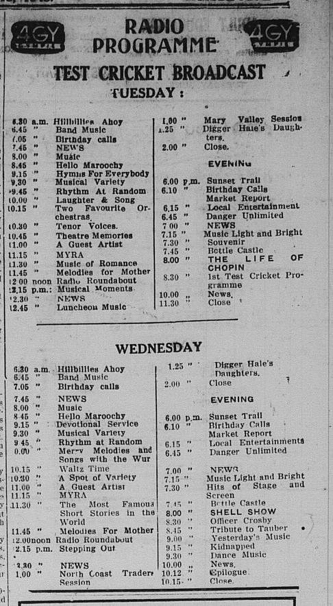 Gympie Times Tuesday March 15, 1948 p.5 Radio Programmme 4GY