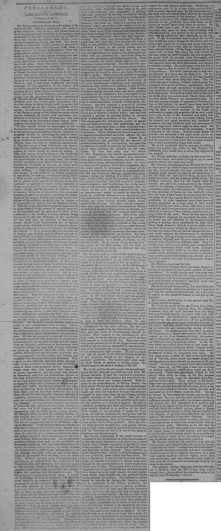 GT Wednesday June 23, 1869 p.3 Goldfields Bill