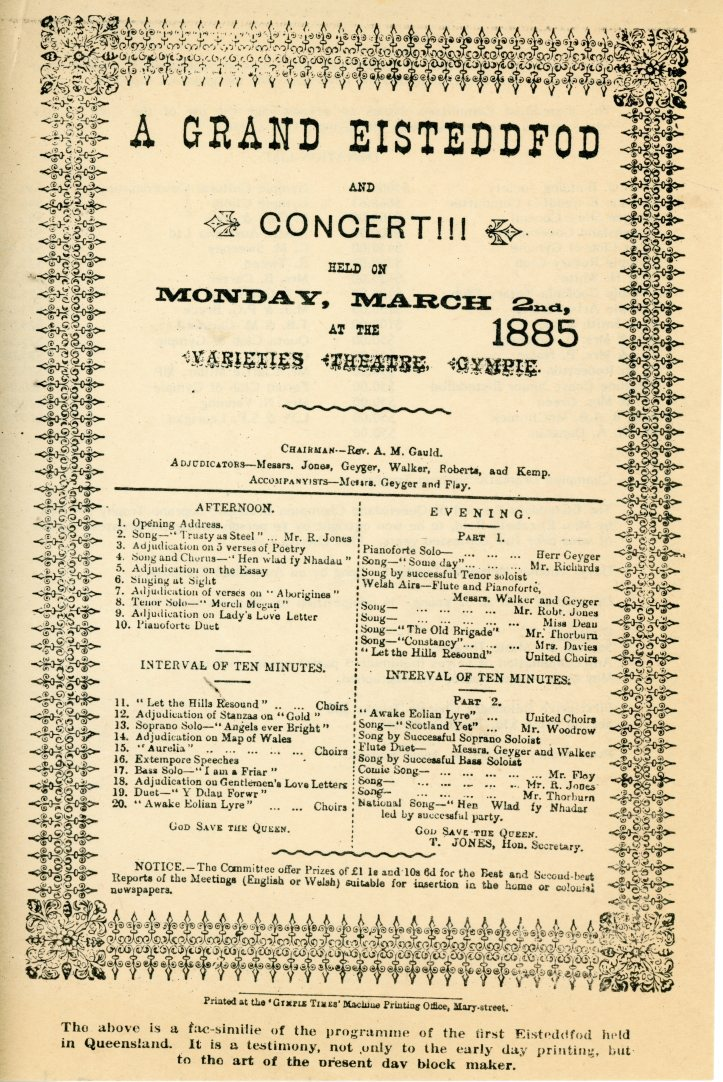 March 1885 Eisteddfod program