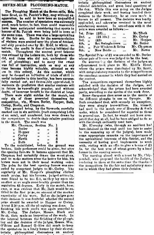 Seven Mile Ploughing Match, Gympie Times and Mary River Gazette, Wednesday 21 March 1877, page 3