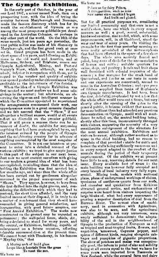 The Gympie Exhibition Gympie Times and Mary River Gazette, Wednesday 17 October 1877, page 3