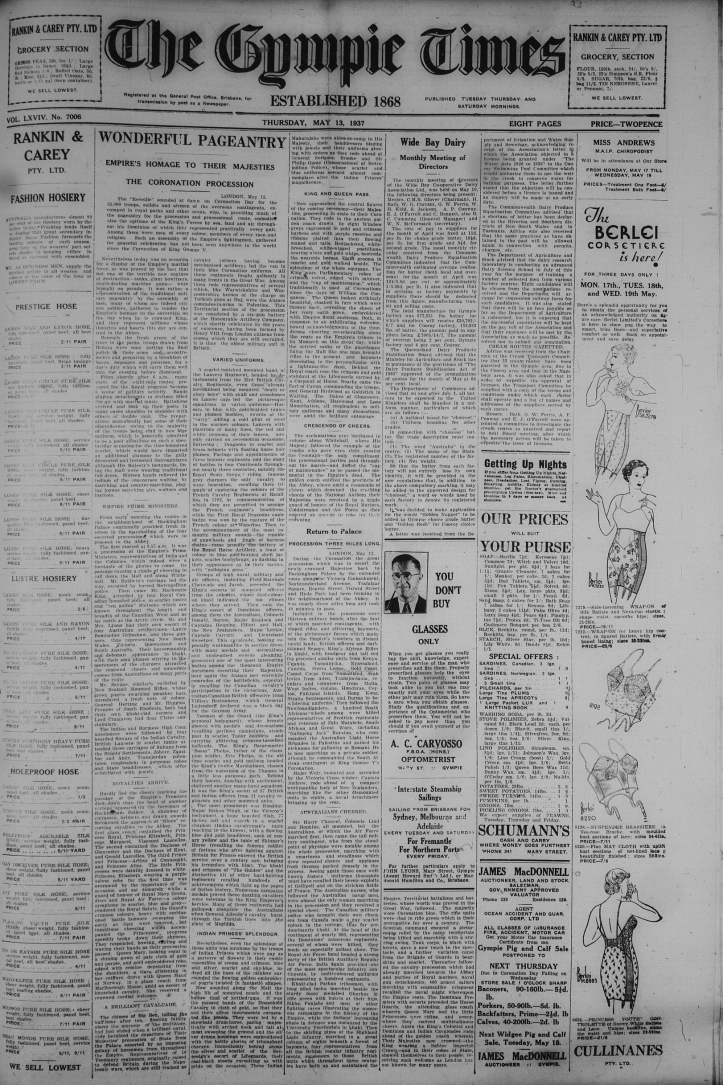 Thursday 13 May 1937 page 1