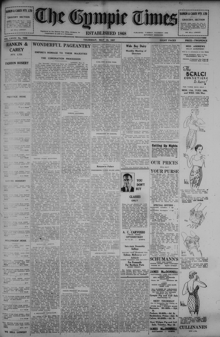 Wednesday 12 May 1937 page 1