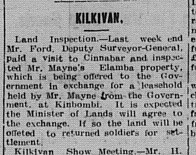 The Gympie Times Saturday, July 13, 1918 p. 3 Kilkivan Soldier Settlement
