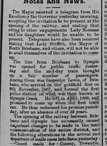 Gympie Times T Saturday, July 18, 1891 p. 2 Opening of Railway to Brisbane