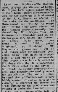 The Gympie Times Saturday, July 20, 1918 p.3 Kilkivan Land for Soldier Settlement