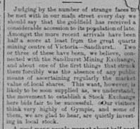 Gympie Times Saturday, June 14, 1884 p. 3 Movement to establish a Stock Exchange in Gympie