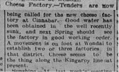 The Gympie Times, Saturday, October 7, 1916 p. 6 Cinnabar Cheese Factory