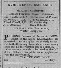 Gympie Times Thursday, July 10, 1884, p. 2 Managing committee Gympie Stock Exchange