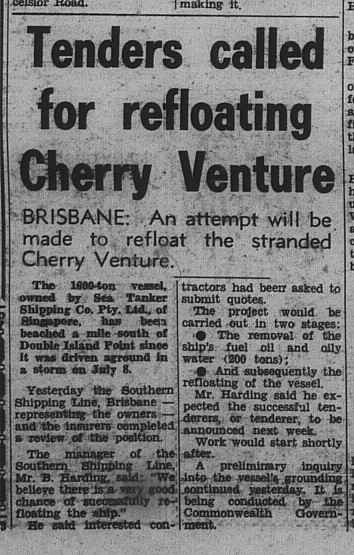 GT Thursday, July 19, 1973 p. 3 Tenders called for refloating Cherry Venture