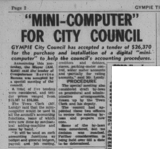 Computer for City Council Taken from The Gympie Times July 3 1975 p. 2.