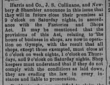 Gympie Times, Saturday, August 10, 1901 p. 3 Shop closure times