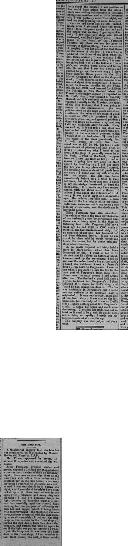 Gympie Times, Saturday, August 20, 1881 p. 2 Inquest into fire