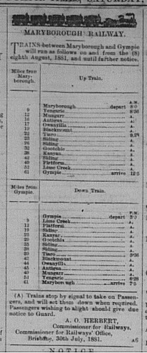 Gympie Times, Saturday, August 6, 1881 p. 2 Maryborough Railway Timetable