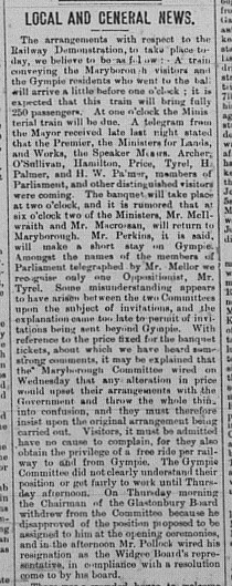 Gympie Times, Saturday, August 6, 1881 p. 3 Local and General News