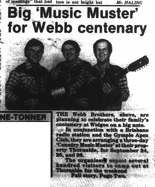 Gympie Times, Saturday, July 24, 1982 p.1 Big 'Music Muster' for Webb centenary