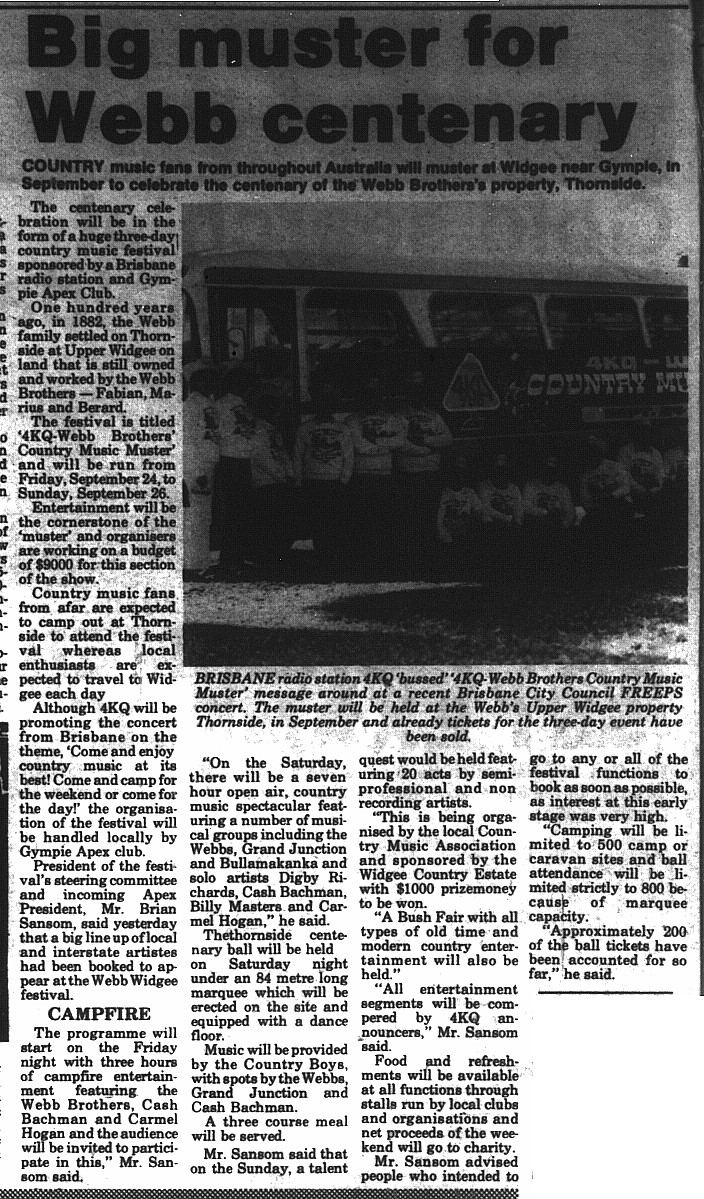 Gympie Times, Saturday, July 24, 1982 p.1 Big muster for Webb centenary