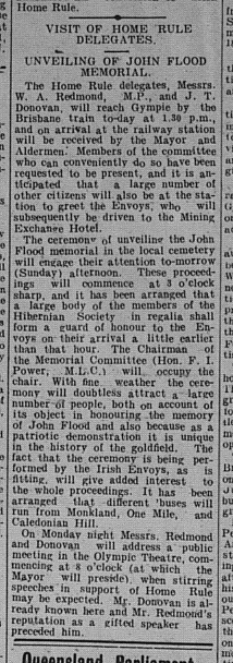 Gympie Times, Saturday, September 23, 1911 p.3 Visit of Home rule Delegates Unveiling of John Flood Memorial