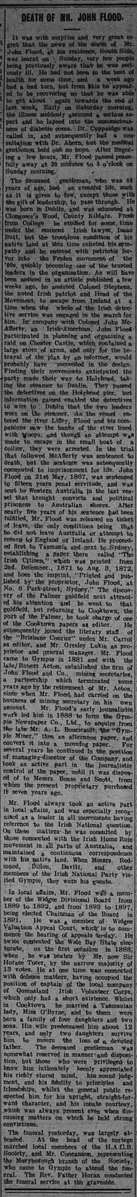 Gympie Times, Tuesday, August 24, 1909 p. 3 Death of Mr John Flood
