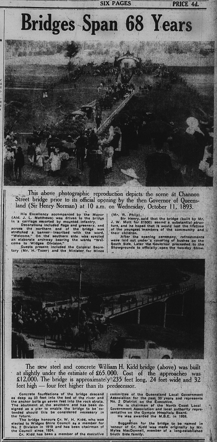 Gympie Times,  Tuesday, August 8, 1961 p. 1 Bridges Span 68 Years