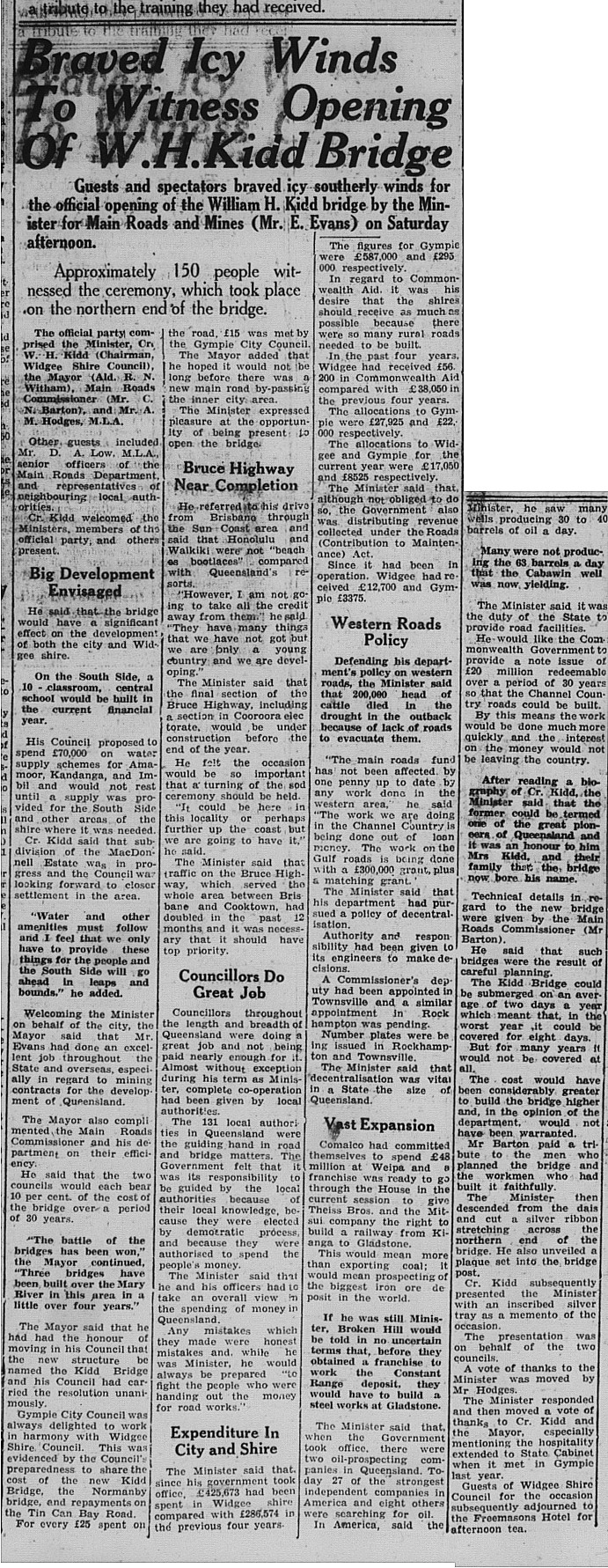 Gympie Times, Tuesday, August 8, 1961 p. 2 Braved Icy Winds to Witness Opening of W H Kidd Bridge