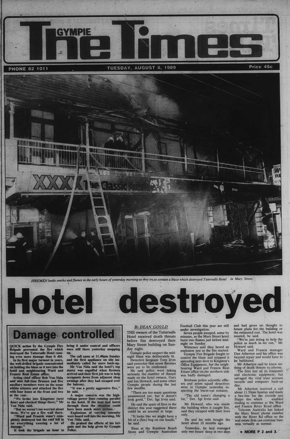 GT Tuesday, August 8, 1989 p.1 Hotel Destroyed