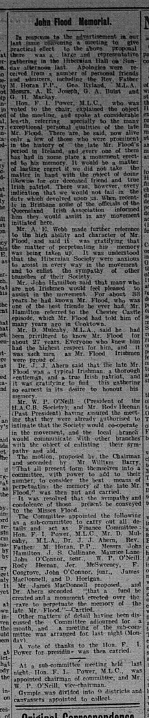Gympie Times, Tuesday, September 14, 1909, p.3 John Flood Memorial