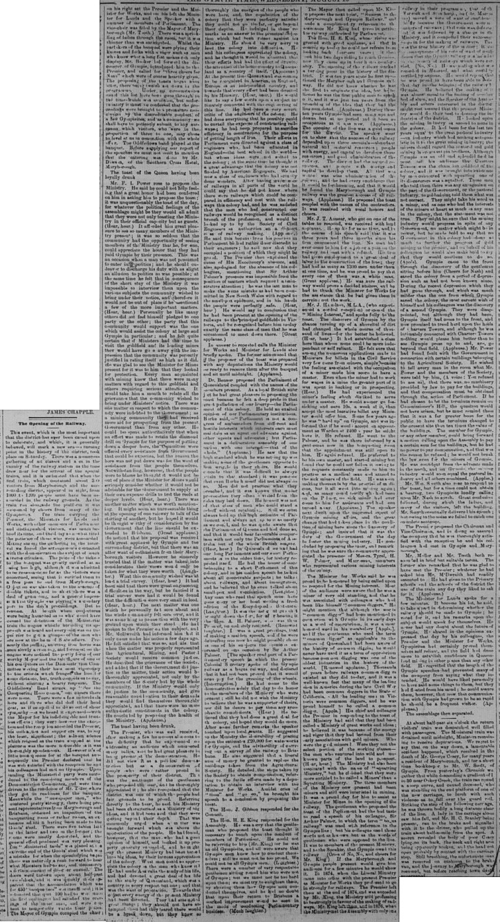 Gympie Times, Wednesday, August 10, 1881 p. 2 Opening of Railway