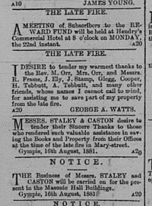 Gympie Times, Wednesday, August 17, 1881 p.2 Notices of fire