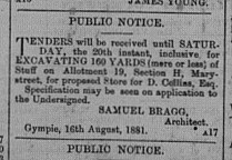 Gympie Times, Wednesday, August 17, 1881 p.2 Section H Allotment 19