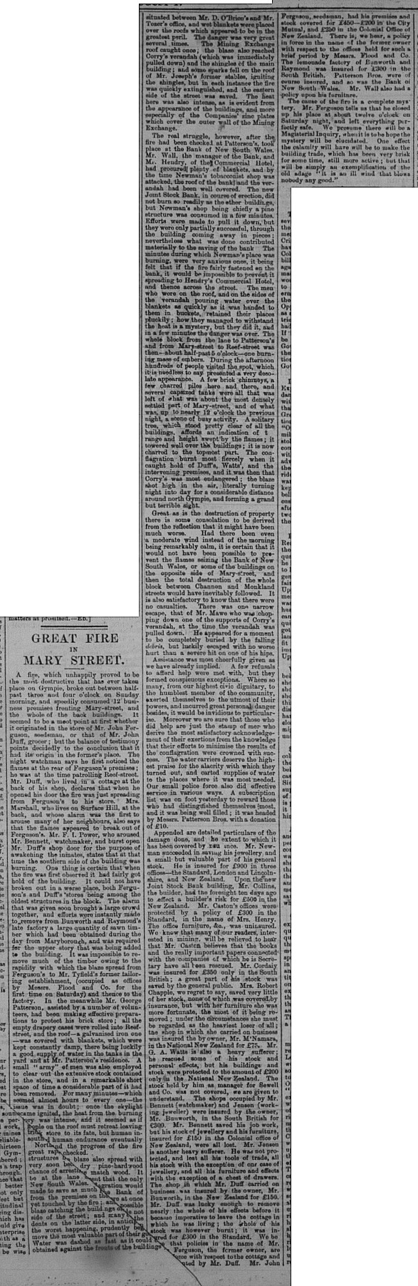 Gympie Times, Wednesday, August 17, 1881 p. 3 Great fire in Mary St
